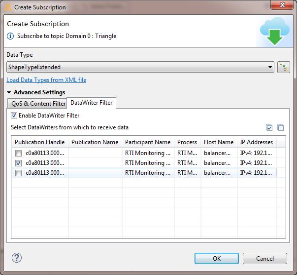 set the DataWriter filter