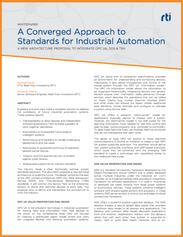 A Converged Approach to Standards for Industrial Automation