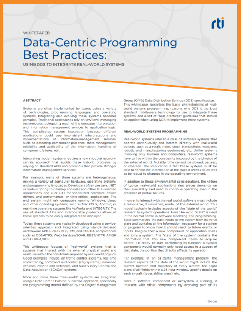 Data Centric Programming Best Practices: Using DDS to Integrate Real-World Systems
