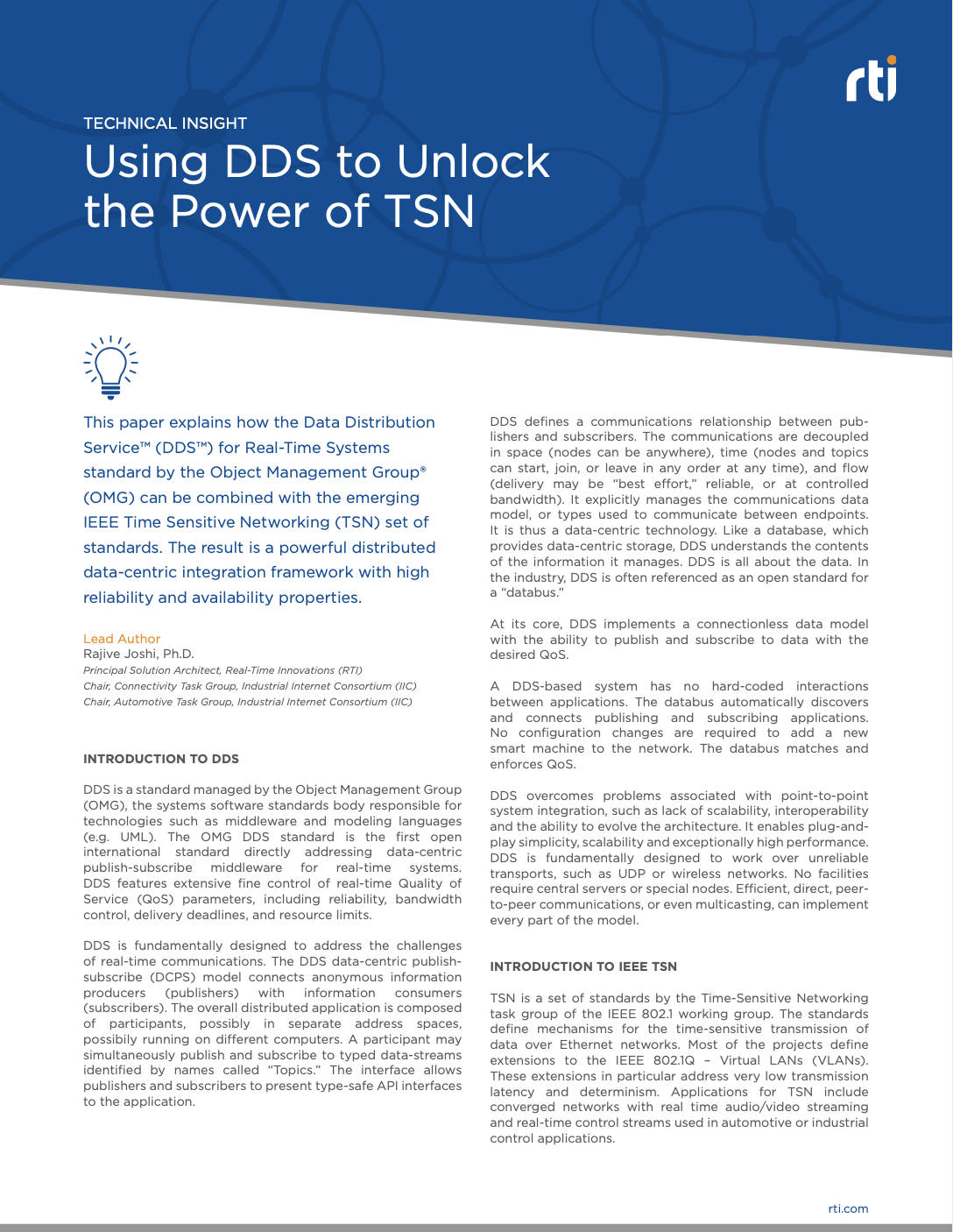 Using Dds To Unlock The Power Of Tsn Rti